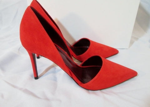 NEW CELINE PARIS ITALY DORSAY Suede Pump Shoe RED 36 / 6 TOMATO Womens High Heel