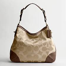 COACH PEYTON Signature Sateen Bag 14525 Jacquard Hobo shoulder Bag BROWN BEIGE