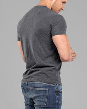 V-Neck Plain T-Shirt - Dark Grey - Muscle Fit Basics back