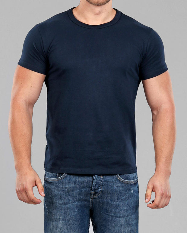 Crew Basic Muscle Fitted Plain T-Shirt - Navy