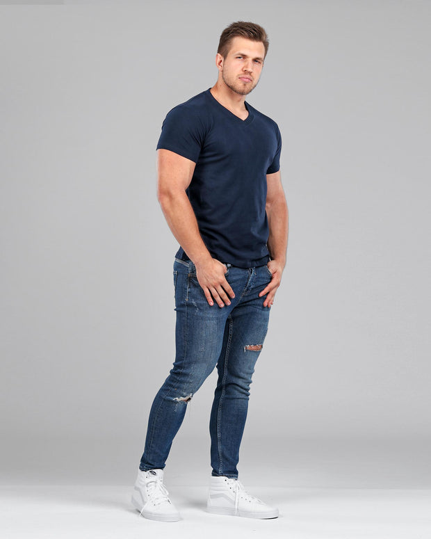 V-Neck Basic Muscle Fitted Plain T-Shirt - Navy - Muscle Fit Basics - 4