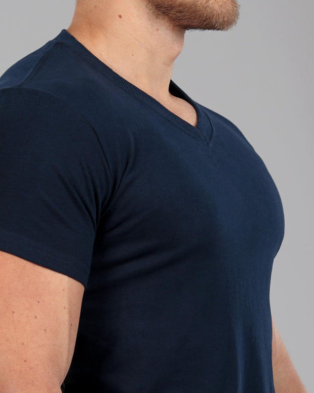 V-Neck Basic Muscle Fitted Plain T-Shirt - Navy - Muscle Fit Basics - 1