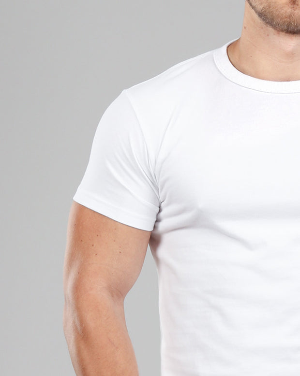 white muscle fitted basics heavyweight suede cotton t-shirt back