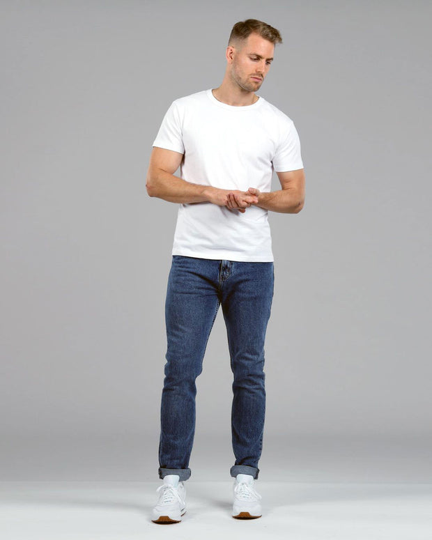 white muscle fitted basics heavyweight suede cotton t-shirt far