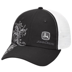 John Deere Authentic Licensed Black and White Mesh with White Scrolling - LP69131