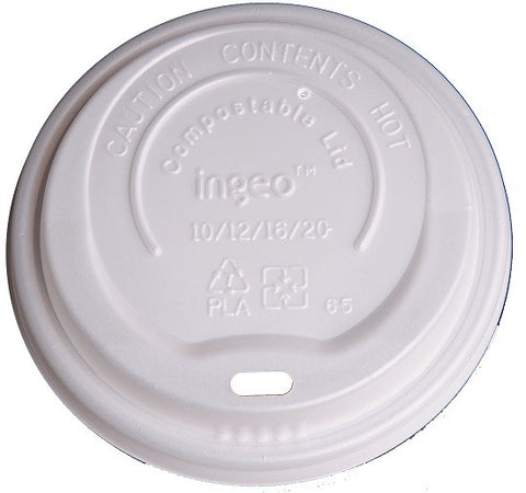 Compostable Clear Dome Lids for NatureCup Single Layer 10-20oz, 1000/case - C-PAC