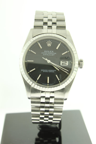Rolex Datejust 36mm Stainless Steel Black Dial 1603 - Arnik Jewellers