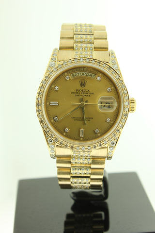 Rolex Day Date President Solid 18K Yellow Gold Diamond Dial, Bezel & Bracelet 18038 - Arnik Jewellers