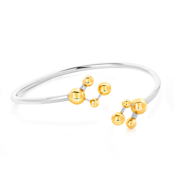 Silver & Gold Vermeil Two Tone Atomic Sphere Bangle