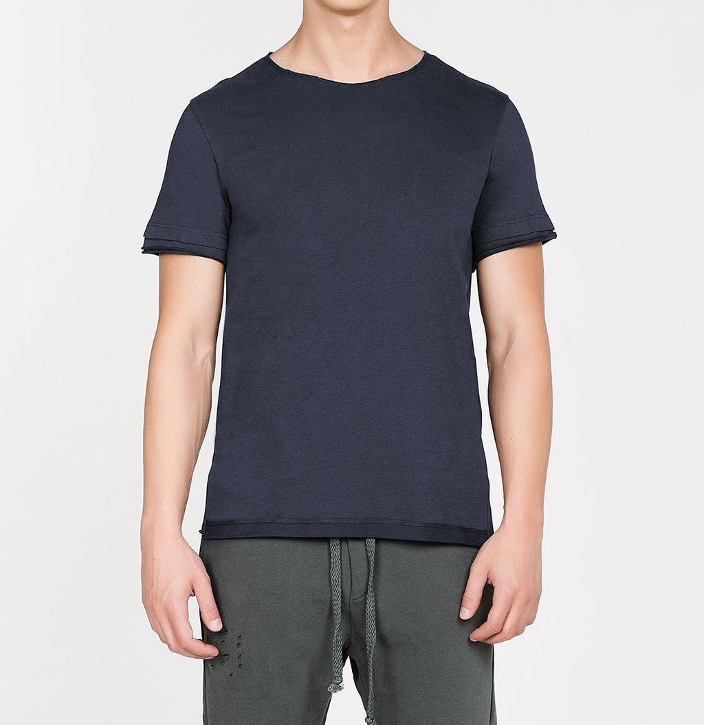Organic Cotton Crew Neck Garment Dyed T-shirt Slate Blue | The Project Garments - A
