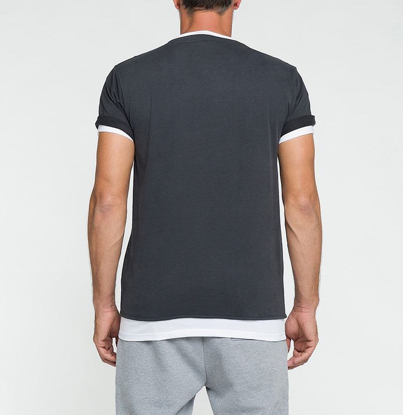 Double Crew Neck Wool T-Shirt Charcoal Grey | The Project Garments - Back