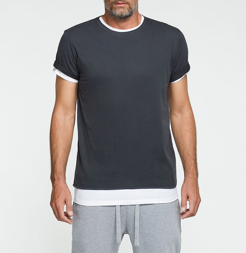 Double Crew Neck Wool T-Shirt Charcoal Grey | The Project Garments - Front