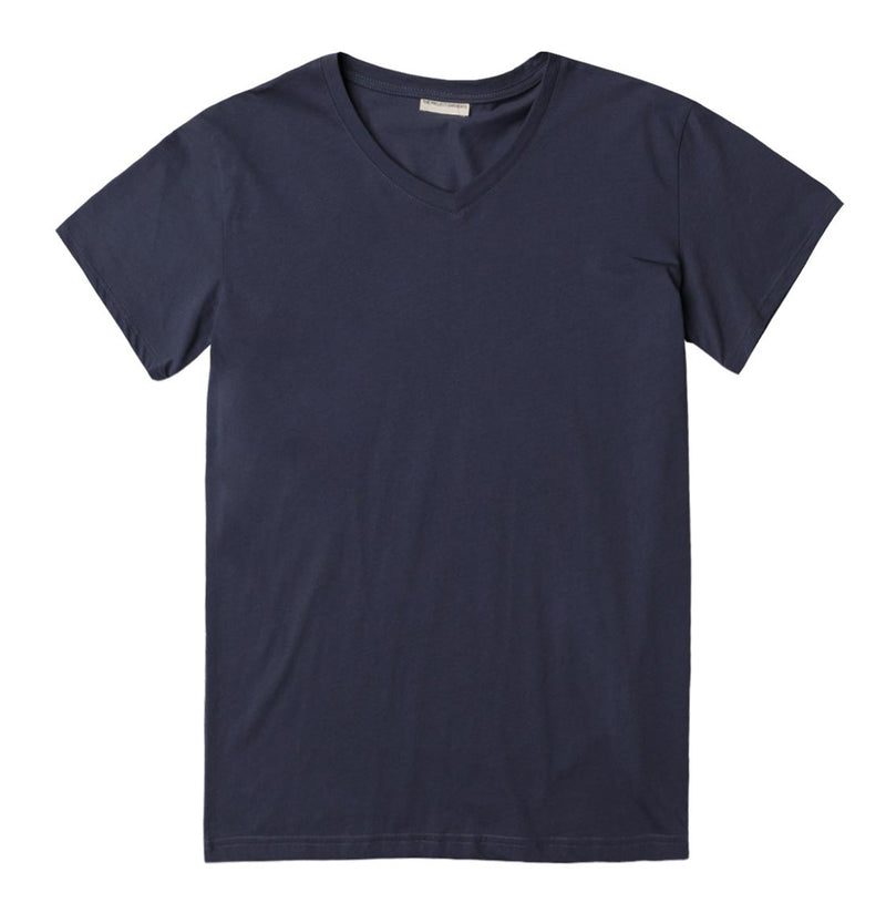 Organic Cotton V-neck T-shirt Slate Blue - A