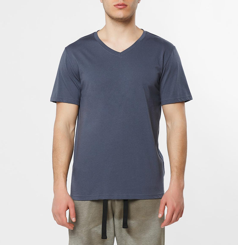 Organic Cotton V-neck T-shirt Slate Blue - B
