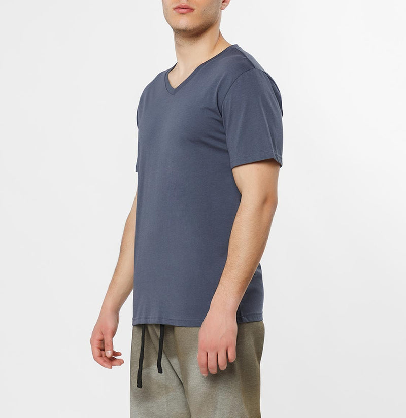 Organic Cotton V-neck T-shirt Slate Blue - C
