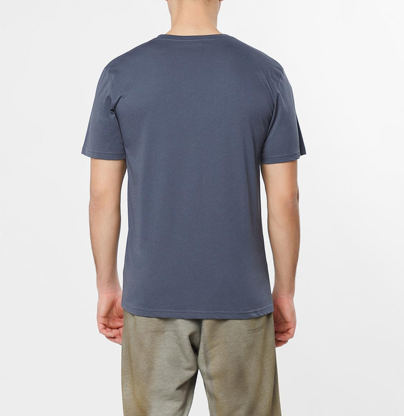 Organic Cotton V-neck T-shirt Slate Blue - D