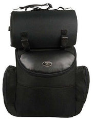 BLACK LARGE NYLON 2 PIECE SISSY BAR TRAVEL BACK PACK