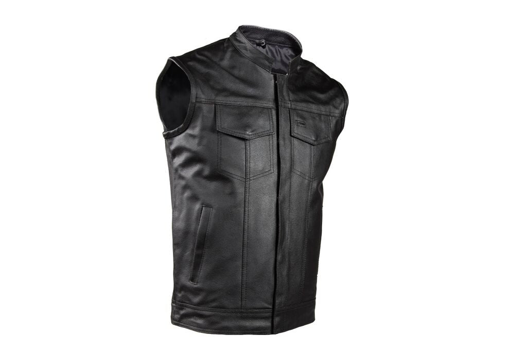 MEN'S RIDING SON OF ANARCHY STYLE LEATHER VEST W GUN POCKET