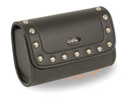BLACK PVC STUDDED WINDSHIELD TOOL BAG W/ VELCRO CLOSURE
