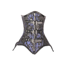 LADIES BROCADE CORSET BLACK WITH SILVER