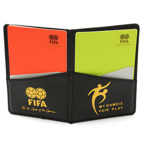 FIFA Champion Soccer Referee Wallet 1 Red & 1 Yellow Card W/ Match Report Sheet