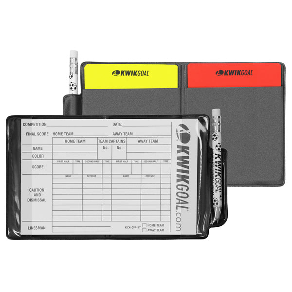 Kwik Goal Referee Wallet w/ Pencil & Notepad (Red/Yellow)