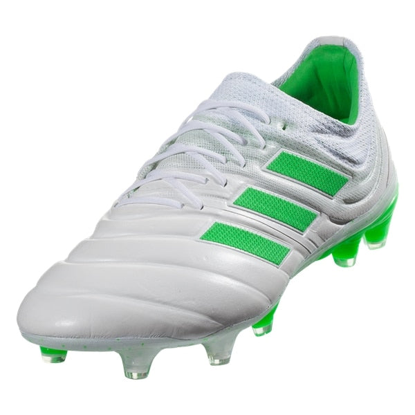 adidas Copa 19.1 FG Leather Soccer Cleats (White/Green)