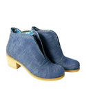 blue denim ankle vegan boots