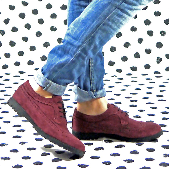 Kate suede derby wingtip suede bordeaux