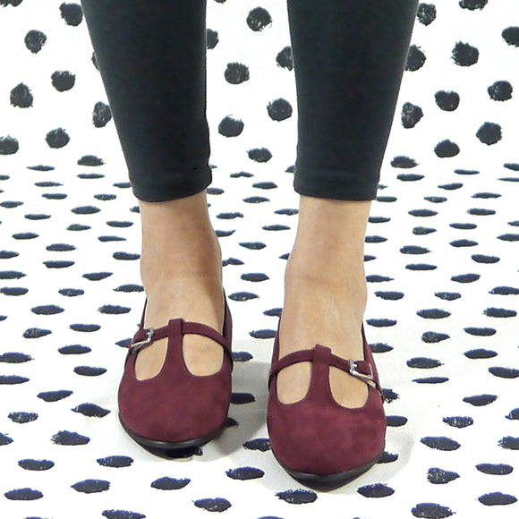 Vanity flat mary jane bordeaux