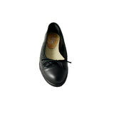 Mia flat black slip on ballerina