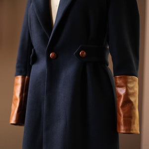 Navy Wool Coat with Cognac Calf Leather and Buttons