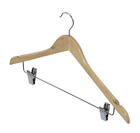 1pc Natural Beech Wooden Clothes Hangers with Trouser/Skirt Clips