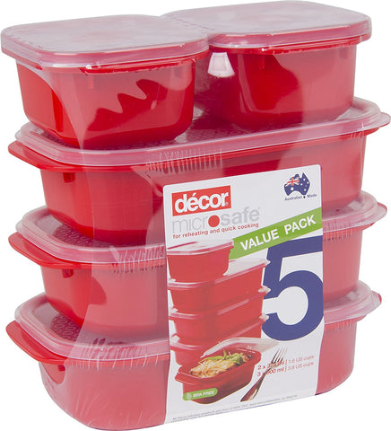 Set of 5 Red Microwave, Dishwasher and Freezer Safe Containers