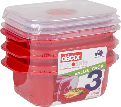 Set of 3 Red Microwave, Dishwasher and Freezer Safe Containers