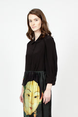 Black Crepe De Chine Shirt