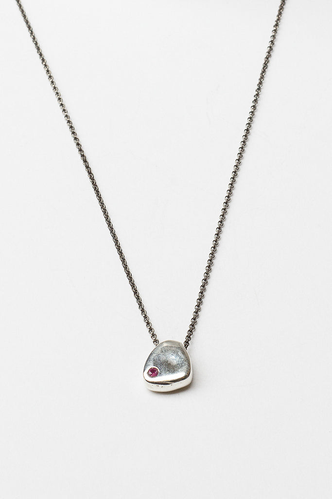 Silver Ruby Medal Necklace