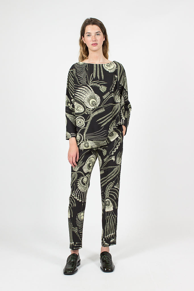 Peacock Feather Pant Black