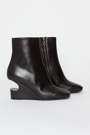 Black Cut-Out Heeled Boots