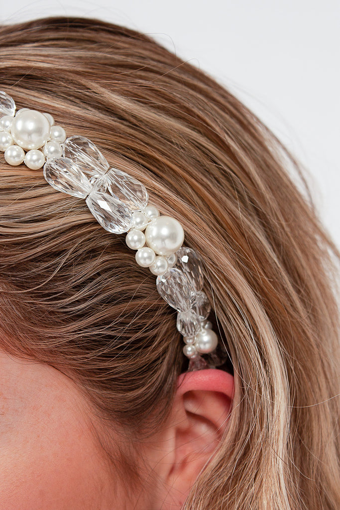Daisy Hairband Clear/Pearl