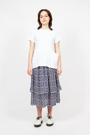 Blue/White Patterned Tier Skirt