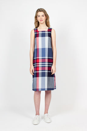 Square Neck Big Madras Plaid Neck Dress