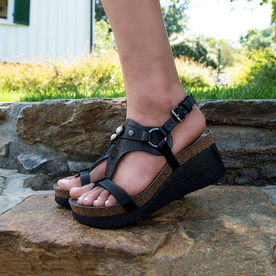 Womens wedge sandal maverick in new black close up
