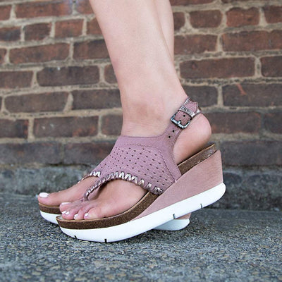 Womens wedges meditate in salmon close up
