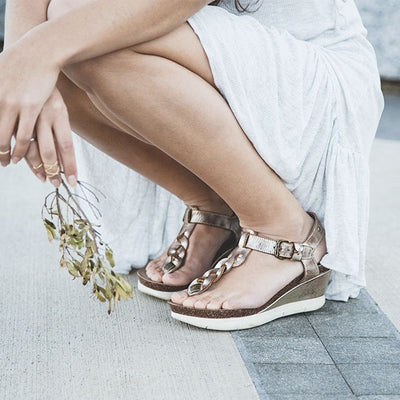 GRACEVILLE in GOLD Wedge Sandals