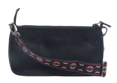 womens leather crossbody bag tulum in black back