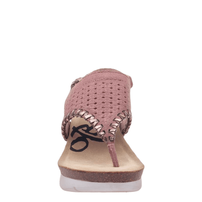 Womens wedge sandal meditate in salmon front view