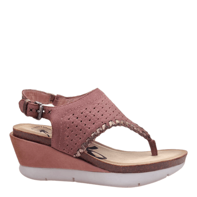 Womens wedge sandal meditate in salmon side view