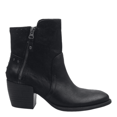 Womens ankle boot red eye in black side view