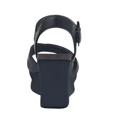 Bee Cave womens wedge in black back view